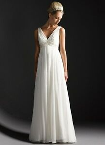 V-neck Chiffon Beaded Wedding Bride Maternity Dress Prom Evening Gown Custom