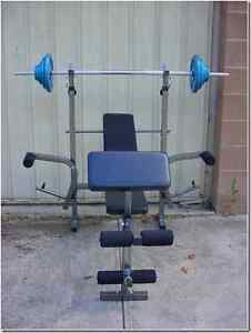 BRAND NEW WEIGHT LIFTING SET AND BENCH .REDUCED TO CLEAR .. Holden Hill Tea Tree Gully Area Preview