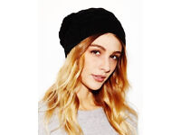 Black Ladies Thick Cable Knit Beanie Warm Winter Hat.
