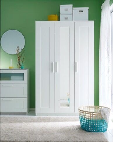 white ikea brimnes wardrobe 3 doors with mirror in kensington london gumtree. Black Bedroom Furniture Sets. Home Design Ideas