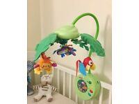 Fisher price rainforest peek-a-boo cot mobile