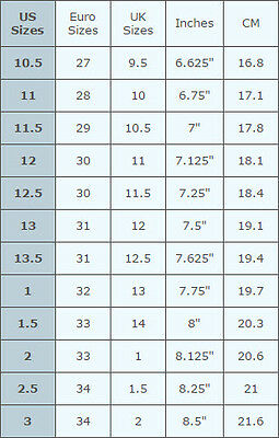 Childrens Shoe Size To Inches