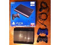 Sony PlayStation 3 Super Slim 500GB plus 2 Wireless Dual Shock Controllers