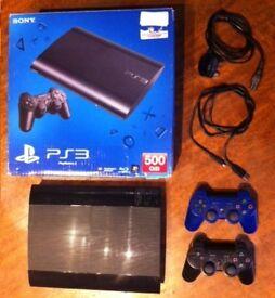 Sony PlayStation 3 Super Slim 500GB plus 2 Wireless Dual Shock Controllers