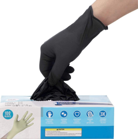 100-piece Black Nitrile Rubber Gloves, Latex-Free & Powder-F