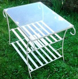 vintage metal & glass garden coffee table