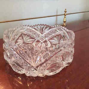 Heavy Bohemian Crystal bowl, beautiful pattern, vintage