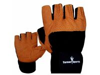 Body Building Gloves Weight Lifting Black and Brown