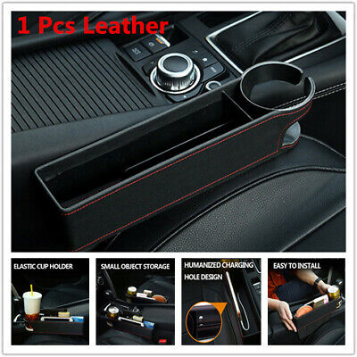 1Pcs Leather Car Seat Gap Catcher Filler Storage Box Pocket Organizer Cup Holder