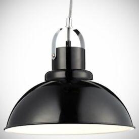 Black metal industrial light pendant fitting shade