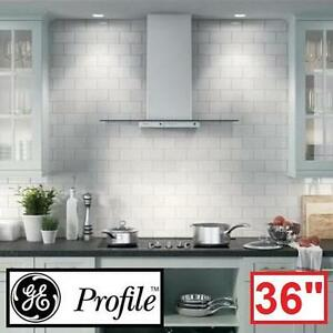 "NEW GE PROFILE 36"" SS RANGE HOOD - 128658591 - STAINLESS STEEL CLEAR GLASS CONVERTIBLE CHIMNEY HOODS RANGES KITCHEN V..."