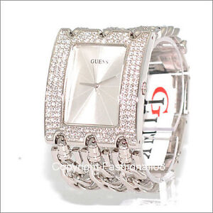 GUESS LADIES SILVER CRYSTAL THREE CHAIN BRACELET WATCH U12640L1