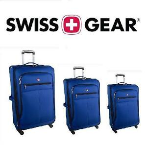 NEW SWISS GEAR 3 PC LUGGAGE SET SALZBURG COLLECTION - BLUE - HOLIDAY - SPINNER SET - SUITCASE - LUGGAGE 105973964