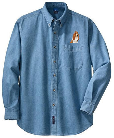 BASSET HOUND embroidered denim shirt XS-XL