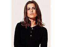 Ladies Black Cotton Grandad Style Buttoned 3/4 Length Sleeve Top.Size L/Size 20.