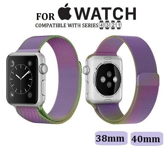 Rainbow Stainless Steel Milanese Luxury Band for Apple Watch Series 1-4 38/40mm Jewelry & Watches