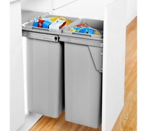 Large Pull-Out Waste & Recycling Kitchen Refuse Bin (64 Litre, 2 Compartments)