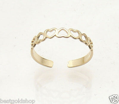 Cute Adjustable Open Heart Design Toe Ring Solid Real 14K Yellow Gold  Cute Open Heart