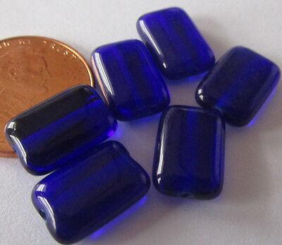 48 Czech Glass Shiny Cobalt Blue Rectangle Tablet Beads 12mm x 8mm