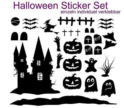 Halloween Fensterbild  Wandtattoo Sticker Set individuell Aufkleber 34 Teile NEU (Halloween Fenster Aufkleber)
