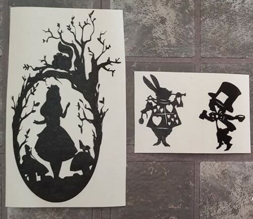 Home Decoration - Alice in wonderland Vinyl Decal Wine Bottle & wine glasses Stickers