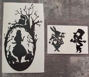 Alice in wonderland Vinyl Decal Wine Bottle & wine glasses Stickers