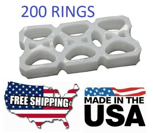 New 200 pcs Liquor Plastic 6 Pac Rings Pack Six Pack Ringers (Beer / Soda Cans )