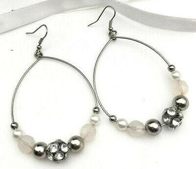 New Crystal Bead & Pearls Hoop Earrings Large Hoop 3
