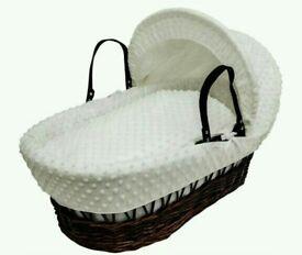 Kinder valley Cream Dimple with Dark Wicker moses basket & Free little gem Rocking stand walnut .