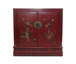 Red Painted Chinese Book Chest