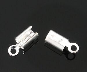 300-SP-POP-Necklace-Cord-Crimp-End-Caps-Tips-W-Loop-8x3mm
