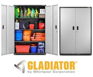 NEW GLADIATOR STEEL GARAGE CABINET GAJG48KDYG 142621925 Ready to Assemble 72 in. H x 48 in. W x 18 in. D - SILVER TREAD