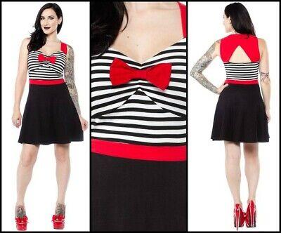 New Sourpuss Sweetheart Dress Pin Up Gothic Rockabilly VLV Tattoo Psychobilly L