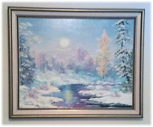 Original Marion Campbell Framed Oil Painting -Winter Scene26x32