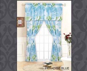 COASTAL BLUE PALM TREE LEAVES 5p WINDOW DRAPERY PANELS U0026 VALANCE SET 84