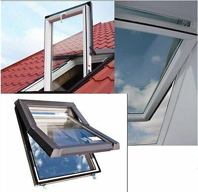 Dachfenster Kunststoff SKYLIGHT 66x118 + Eindeckrahmen + ROLLO