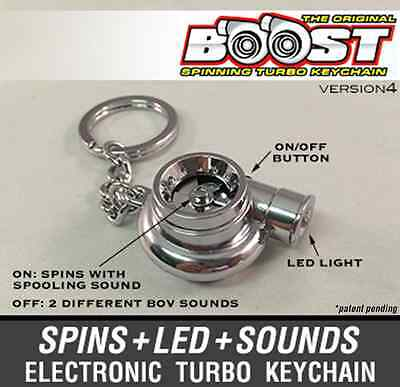 Boostnatics Electric Turbo Keychain Key Ring w/ Sounds and LED - Chrome V4