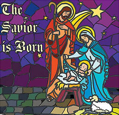 NATIVITY STAINED GLASS Scene Setter Christmas party wall decor kit 6' Manger - Nativity Scene Setters