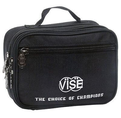 """Vise Bowling Large (8"""" X 10"""") 3 Pocket Black Accessory Bag - New-free Shipping"""