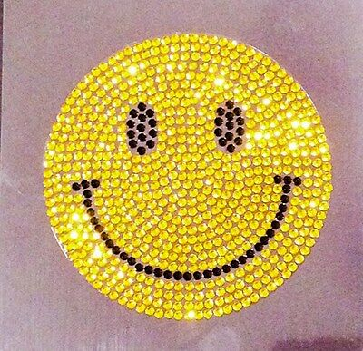 Smiley Face Happy Face Crystal Rhinestone Bling Car iPad Laptop Decal Sticker (Crystal Rhinestones Face Bling)