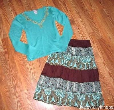 J. MARCO ~ New! Size XS 6 ~ Embroidered Sweater and Peasant Skirt Outfit Set