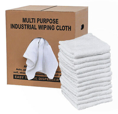 Cotton Terry Cloth Cleaning Towels Rags Dispenser Box- Reclaimed- 4 Lb.