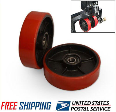 A Pair of Brand New Pallet Jack Steer Wheels With Bearings Poly Tread