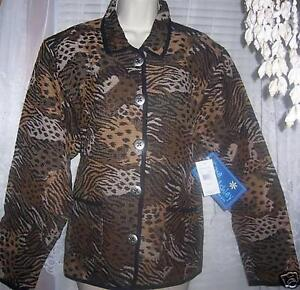 NEW --  Stylish Animal Print Jacket by Jane Ashley    Size large