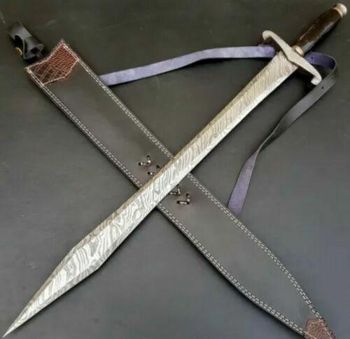 BEAUTIFUL CUSTOM HANDMADE DAMASCUS STEEL 28.0 INCHES HUNTING SWORD WITH SHEATH