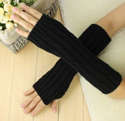 Long Fingerless Gloves Wrist Arm Hand Knitted Warmer Mitten with Thumb Hole (Hand Knitted Mittens)