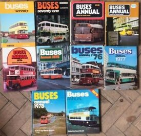 "COMPLETE SET OF 10 x ""BUSES ANNUAL"" FROM 1970 to 1979"