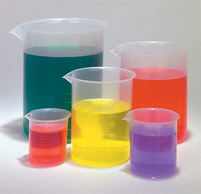 Pack Of 5 Plastic Beaker Set Chemistry Lab Kitchen Polypropylene Multi-use