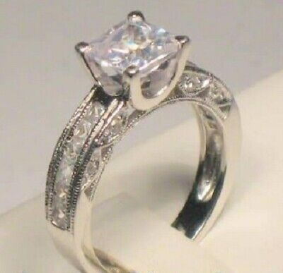 2 Ct Princess cut Diamond Solitaire Engagement Ring Vintage style White Gold -