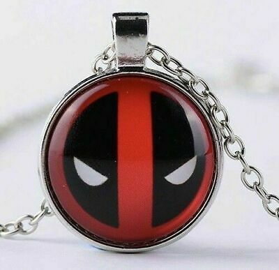 """Deadpool Glass Dome Cabochon 1"""" Silver Pendant 18"""" Chain Necklace Cool Gift-n81"""